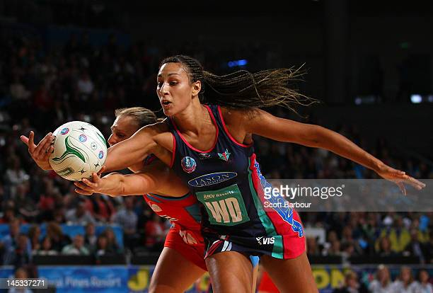Geva Mentor of the Vixens and Vanessa Ware of the Swifts compete for the ball during the round nine ANZ Championship match between the Melbourne...