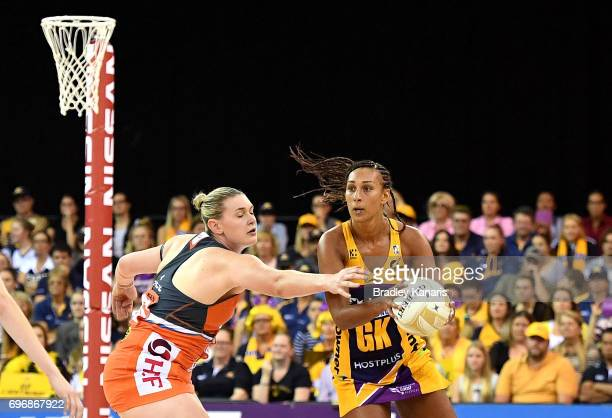 Geva Montor of the Lightning looks to pass during the Super Netball Grand Final match between the Lightning and the Giants at the Brisbane...