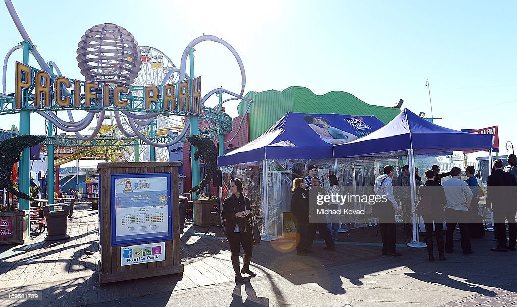 Geveral view of atmosphere during Gillette's 15-city Kiss & Tell Live Experiment at Pacific Park at the Santa Monica Pier where women were asked which kiss is best: a kiss with stubble or smooth shaven skin January 16, 2013 in Santa Monica, California.