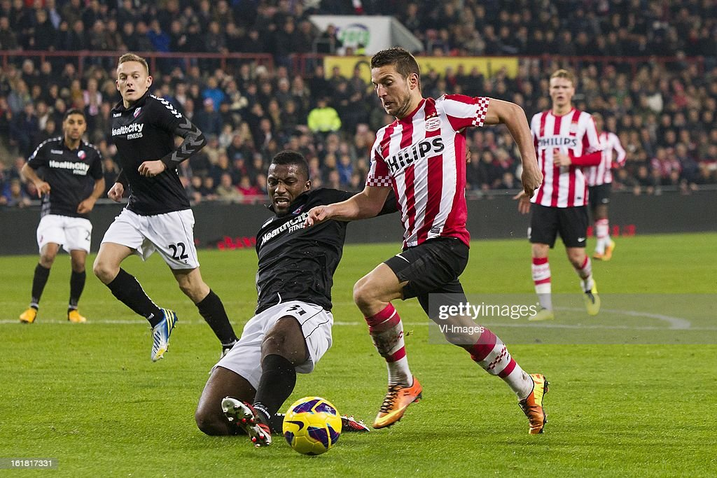 Gevero Markiet of FC Utrecht, Dries Mertens of PSV during the Dutch Eredivisie match between PSV Eindhoven and FC Utrecht at the Philips Stadium on february 16, 2013 in Eindhoven, The Netherlands
