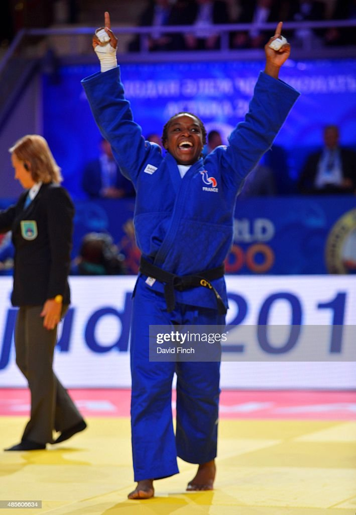 <a gi-track='captionPersonalityLinkClicked' href=/galleries/search?phrase=Gevrise+Emane&family=editorial&specificpeople=607967 ng-click='$event.stopPropagation()'>Gevrise Emane</a> of France (blue) defeated Maria Bernabeu of Spain for the u70kg gold medal during the 2015 Astana World Judo Championships (24-30 August) on day 5 at the Alau Ice Palace, Astana, Kazakhstan.