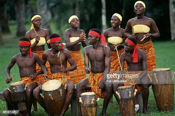 Ghana Accra Tribal drummers dressed in Kente cloth Near Accra