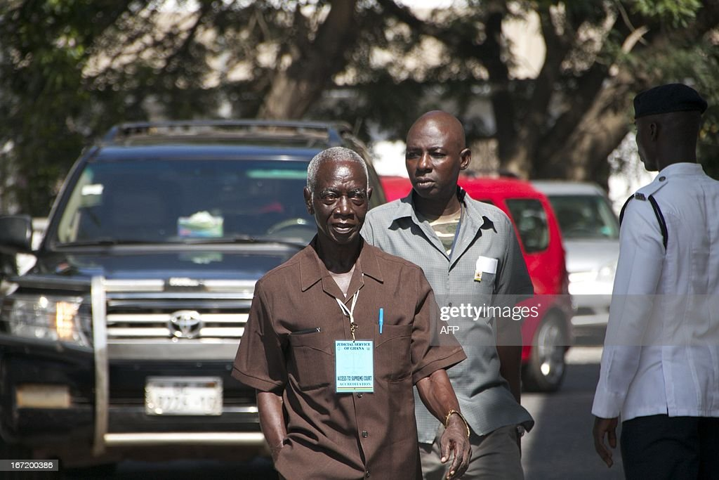 Ghana Electoral Commission Chairman Kwadwo AfariGyan arrives on April 22 2013 at Ghana's Supreme Court in Accra Ghana's government on April 22...