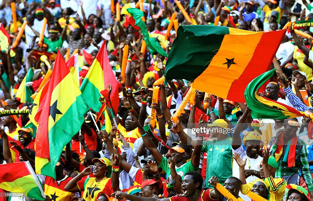 Ghana fans celebrate after Emmanuel Agyeman Badu of Ghana scored a goal during the 2013 African Cup of Nations match between Ghana and Congo DR at Nelson Mandela Bay Stadium on January 20, 2013 in Port Elizabeth, South Africa.
