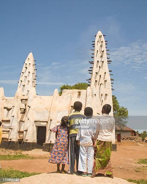 Ghana: Old Mosque at Banda Nkwanta, with Children