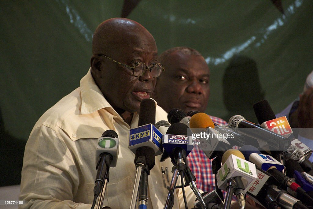 Ghana opposition presidential candidate Nana Akufo-Addo gives a press conference on December 28 in Accra. Ghana's main opposition, alleging electoral fraud, filed a court challenge today to results from this month's presidential polls handing victory to incumbent John Dramani Mahama. Opposition candidate Nana Akufo-Addo of the New Patriotic Party told journalists after the party filed the challenge with the supreme court that the discrepancies they are alleging were too large to ignore.