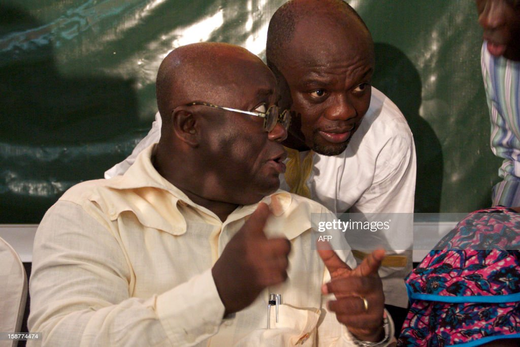 Ghana opposition presidential candidate Nana AkufoAddo gives a press conference on December 28 in Accra Ghana's main opposition alleging electoral...