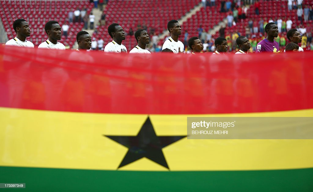 Ghana players listen to their national anthem on July 13, 2013 before a FIFA Under 20 World Cup third-place football match against Iraq at the Turk Telecom stadium in Istanbul.