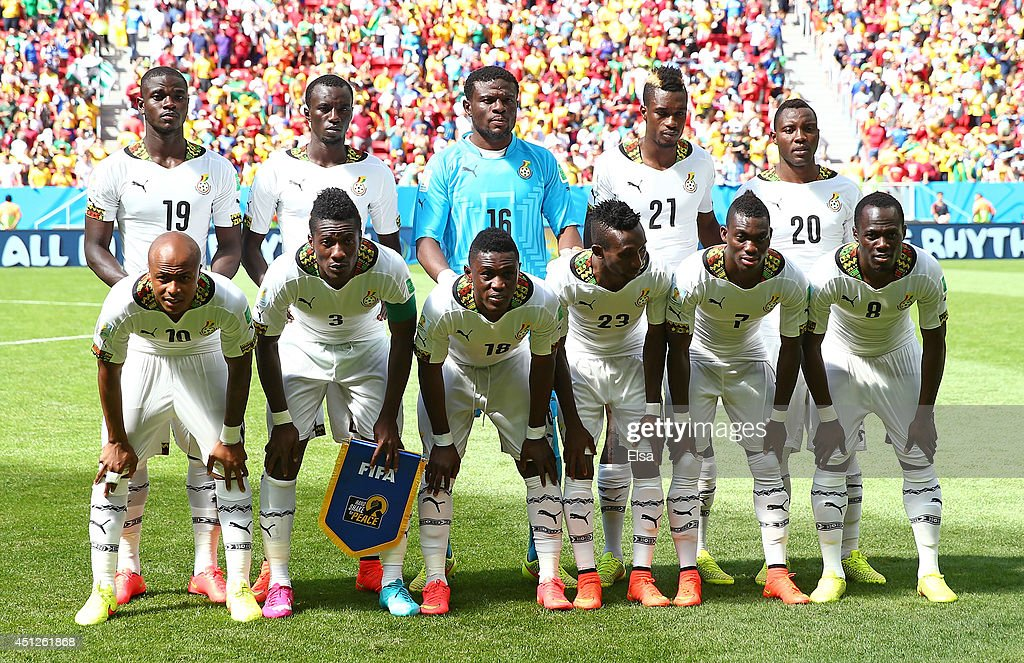 Ghana players pose for a team photo during the 2014 FIFA World Cup Brazil Group G match between Portugal and Ghana at Estadio Nacional on June 26...