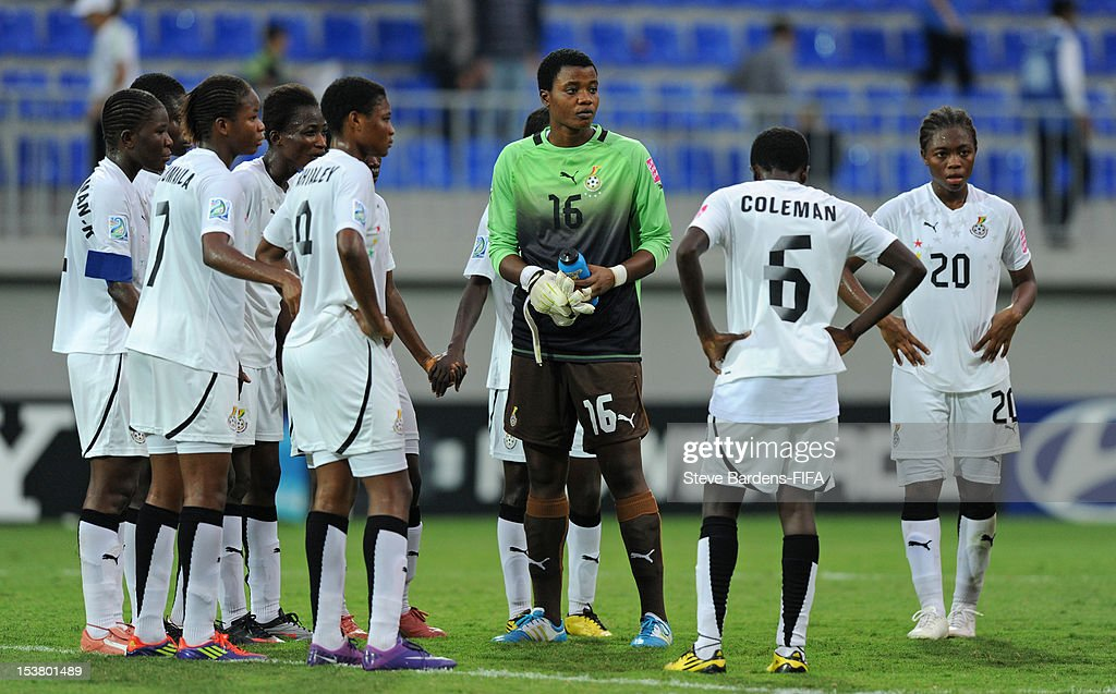 Ghana players stand dejected at the final whistle of the FIFA U-17 Women's World Cup 2012 Semi-Final match between France and Ghana at 8KM Stadium on October 9, 2012 in Baku, Azerbaijan.