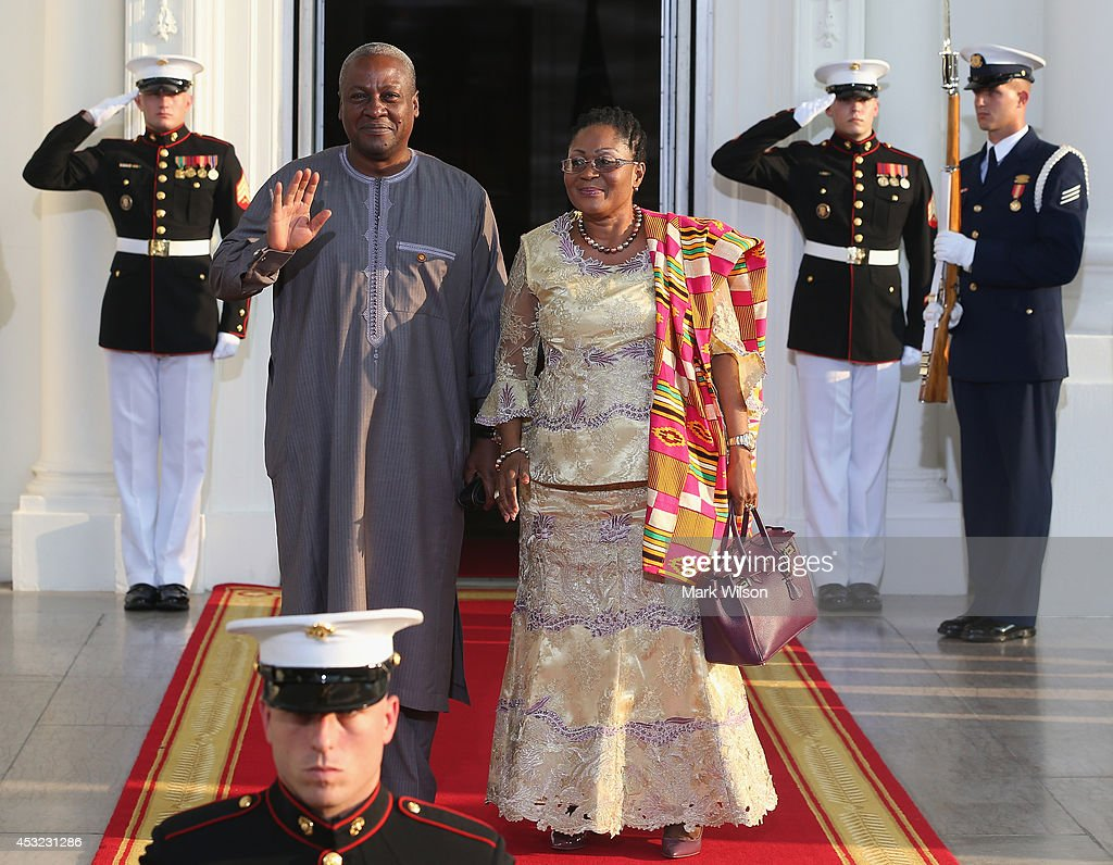 Ghana President <a gi-track='captionPersonalityLinkClicked' href=/galleries/search?phrase=John+Dramani+Mahama&family=editorial&specificpeople=6829053 ng-click='$event.stopPropagation()'>John Dramani Mahama</a> and spouse Lordina Dramani Mahama arrive at the North Portico of the White House for a State Dinner on the occasion of the U.S. Africa Leaders Summit, August 5, 2014 in Washington, DC. African leaders are attending a three-day-long summit in Washington to strengthen ties between the United States and African nations.
