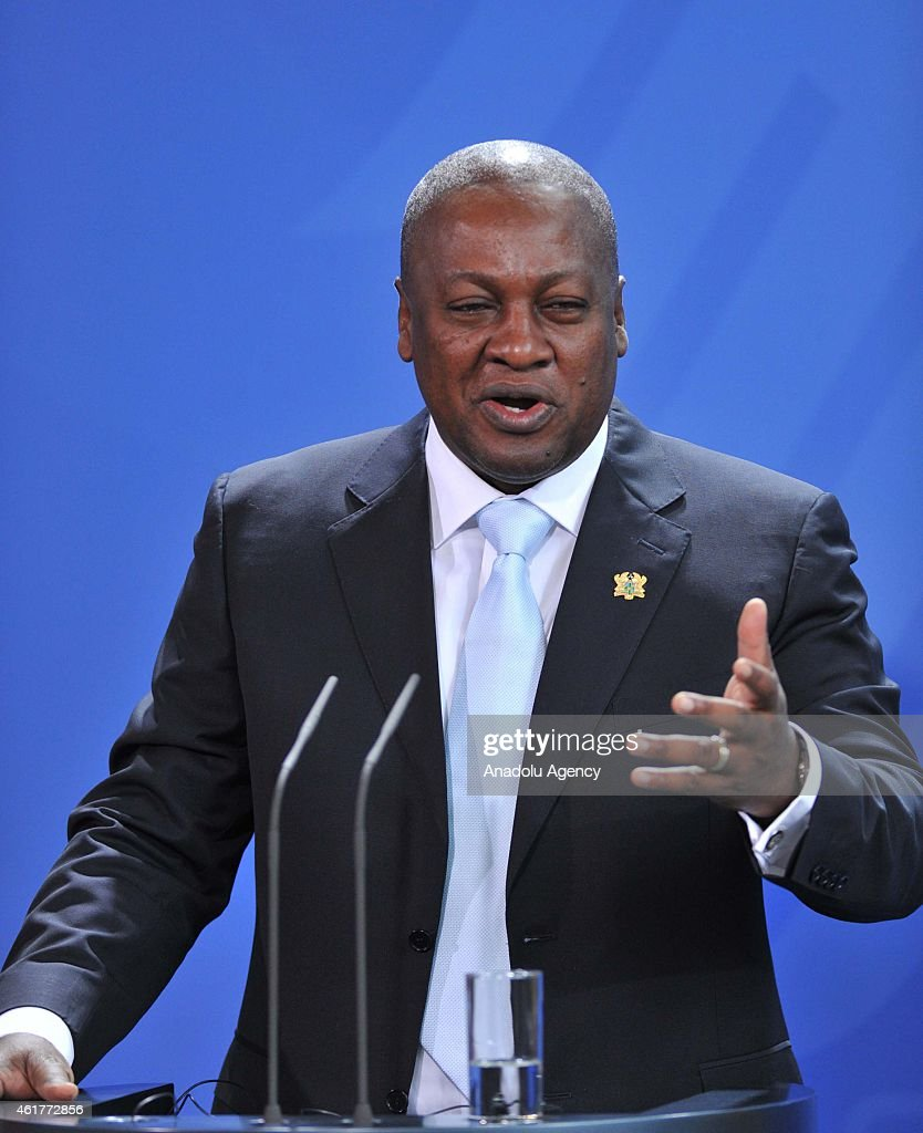 Ghana President John Dramani Mahama delivers a speech during a joint press conference with German Chancellor Angela Merkel at the Chancellery on January 19, 2015 in Berlin, Germany.
