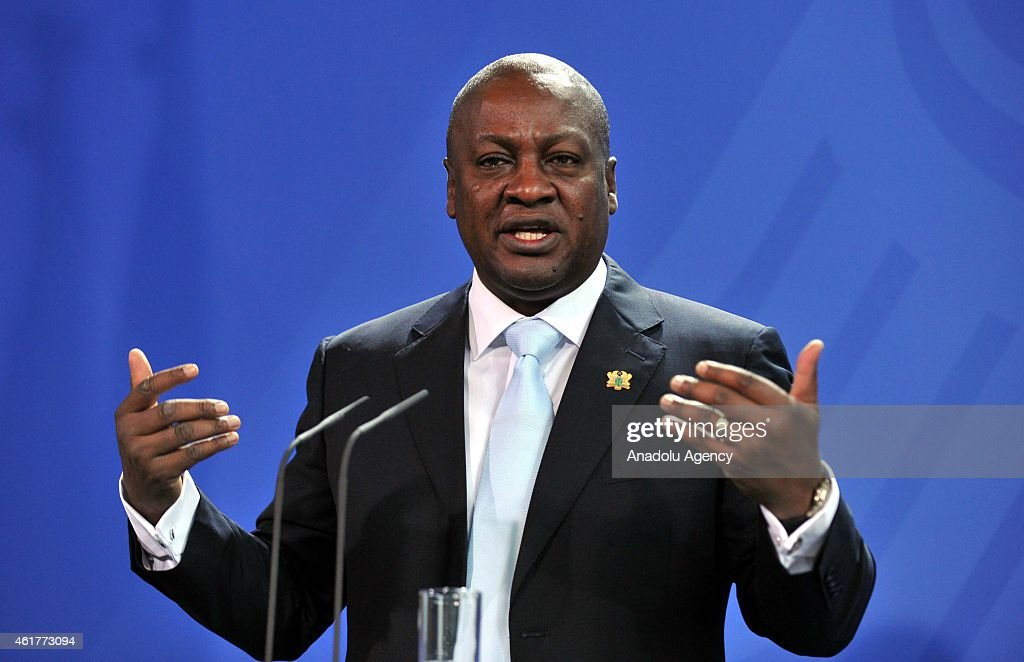 Ghana President <a gi-track='captionPersonalityLinkClicked' href=/galleries/search?phrase=John+Dramani+Mahama&family=editorial&specificpeople=6829053 ng-click='$event.stopPropagation()'>John Dramani Mahama</a> delivers a speech during a joint press conference with German Chancellor Angela Merkel at the Chancellery on January 19, 2015 in Berlin, Germany.
