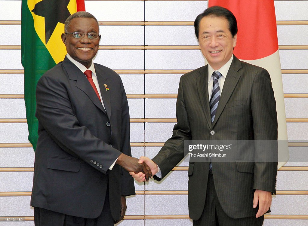 Ghana President John Evans Atta Mills and Japanese Prime Minister <a gi-track='captionPersonalityLinkClicked' href=/galleries/search?phrase=Naoto+Kan&family=editorial&specificpeople=697761 ng-click='$event.stopPropagation()'>Naoto Kan</a> shake hands prior to their meeting at Kan's offcial residence on September 29, 2010 in Tokyo, Japan.