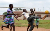 Ghanaian children play football on October 132013 in Accra Ghana Unlike other African countries Ghana tends to be more secure and a calm place to...