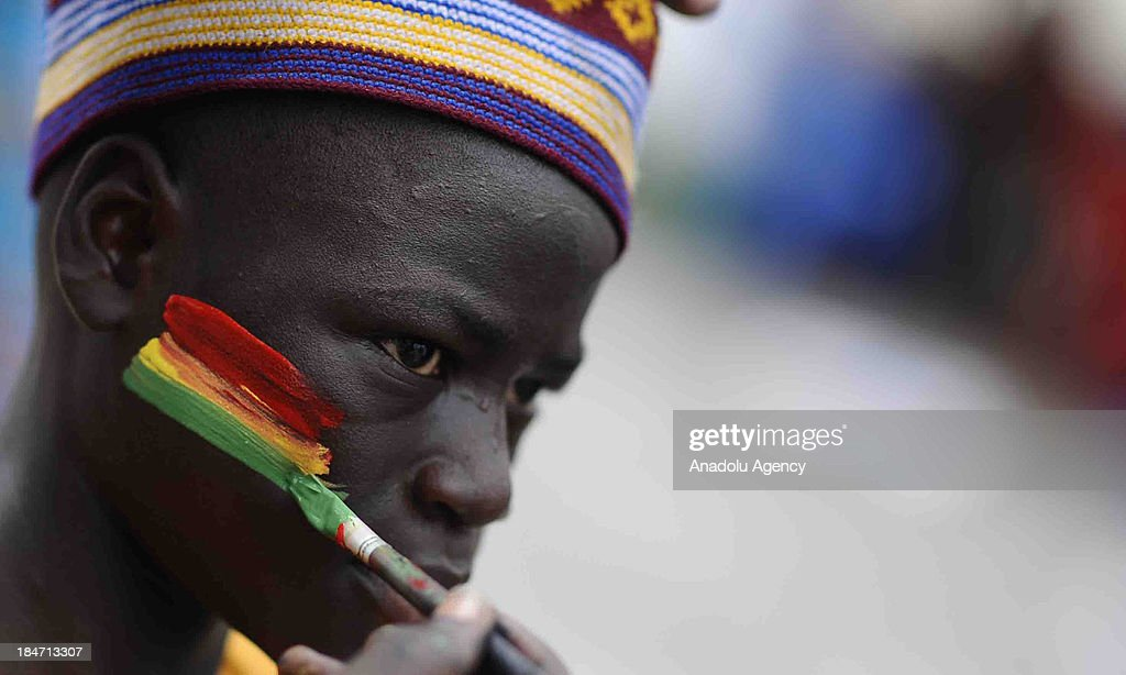 A Ghanaian fan before the 2014 World Cup African qualifying first leg play-off match between Ghana and Egypt on October 15, 2013 at Baba Yara Stadium in Kumasi of Ashanti, Ghana.