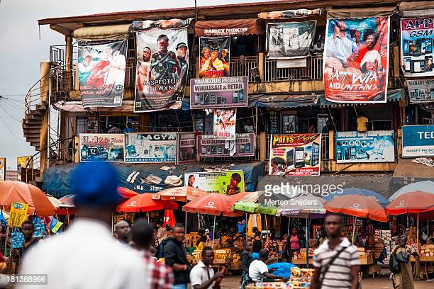 Ghanaian movieposters hanging from building