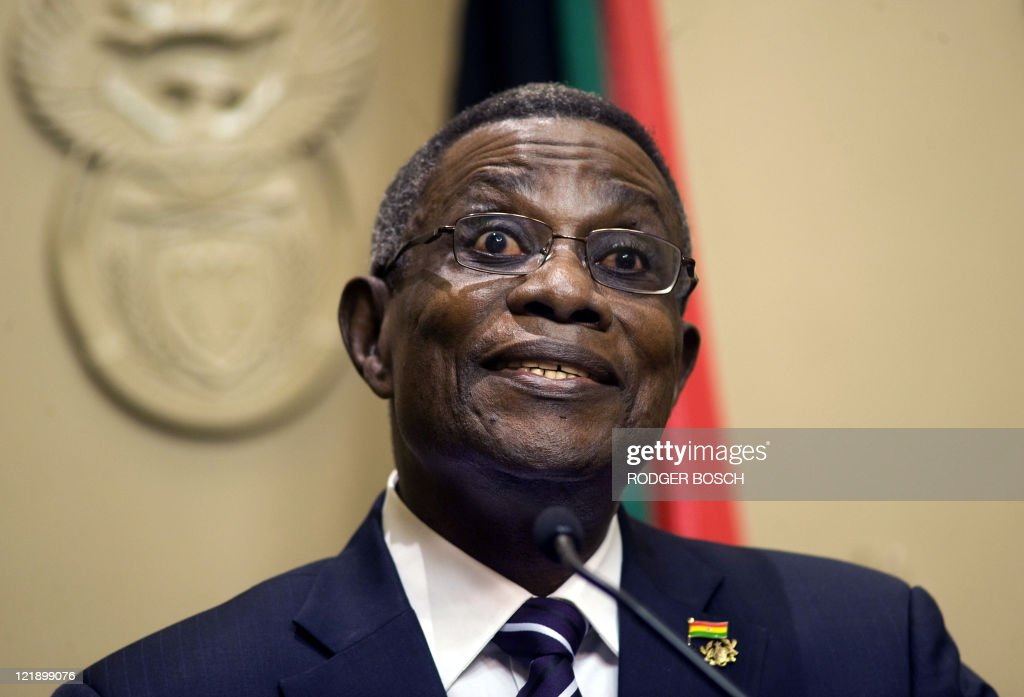 Ghanaian President <a gi-track='captionPersonalityLinkClicked' href=/galleries/search?phrase=John+Atta+Mills&family=editorial&specificpeople=2650122 ng-click='$event.stopPropagation()'>John Atta Mills</a> gives a joint press conference with South African President Jacob Zuma in Cape Town on August 23, 2011. Mills is on a state visit to South Africa to strengthen working relations and discuss matters relating to bilateral priority areas such as cooperation in trade, tourism, communication technology, energy, mining, agriculture and science. Three Bilateral agreements will be signed on issues of mutual benefit to both countries.