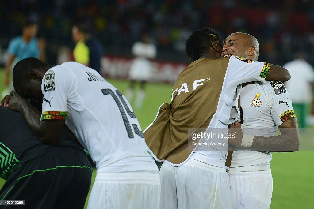 Ghana's Andre Ayew (R), <a gi-track='captionPersonalityLinkClicked' href=/galleries/search?phrase=Asamoah+Gyan&family=editorial&specificpeople=535782 ng-click='$event.stopPropagation()'>Asamoah Gyan</a> (C) and Jonathan Mensah (L) react at the end of the 2015 African Cup of Nations final soccer match between Ivory Coast and Ghana at the Bata Stadium on February 08, 2015 in Bata, Equatorial Guinea.