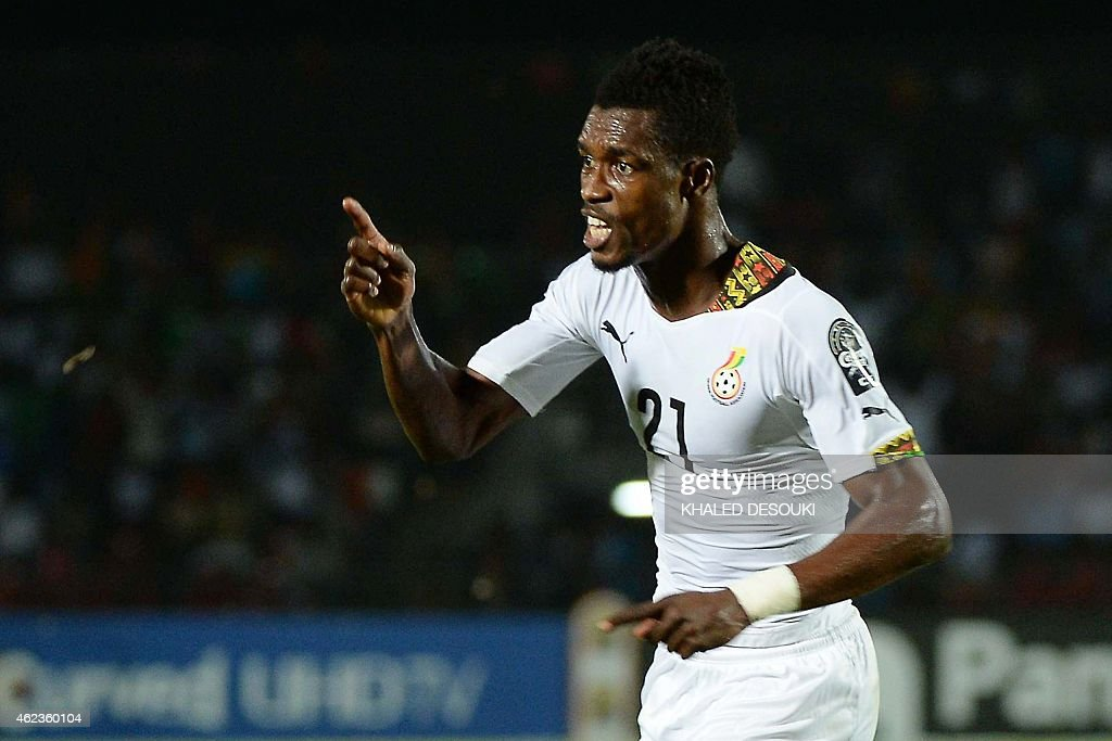 Ghana's defender <a gi-track='captionPersonalityLinkClicked' href=/galleries/search?phrase=John+Boye&family=editorial&specificpeople=7190220 ng-click='$event.stopPropagation()'>John Boye</a> celebrates after scoring a goal during the 2015 African Cup of Nations group C football match between South Africa and Ghana in Mongomo on January 27, 2015. AFP PHOTO / KHALED DESOUKI