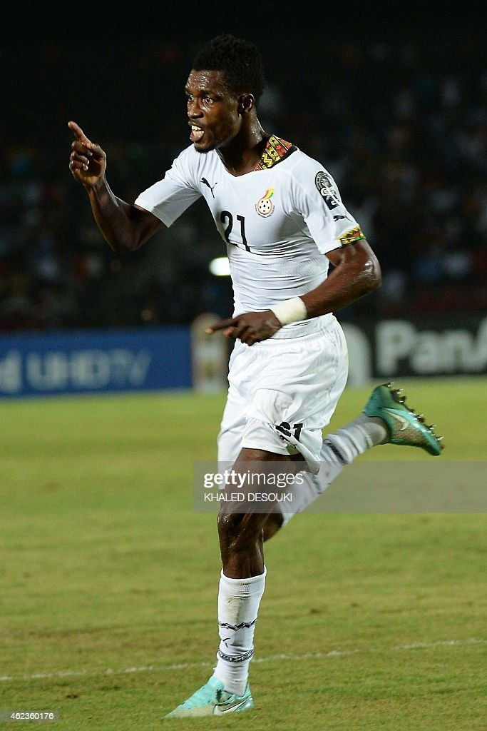 Ghana's defender <a gi-track='captionPersonalityLinkClicked' href=/galleries/search?phrase=John+Boye&family=editorial&specificpeople=7190220 ng-click='$event.stopPropagation()'>John Boye</a> celebrates after scoring a goal during the 2015 African Cup of Nations group C football match between South Africa and Ghana in Mongomo on January 27, 2015.