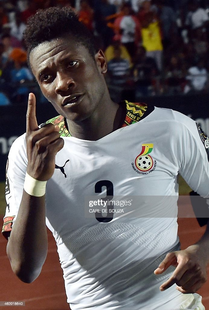 Ghana's forward <a gi-track='captionPersonalityLinkClicked' href=/galleries/search?phrase=Asamoah+Gyan&family=editorial&specificpeople=535782 ng-click='$event.stopPropagation()'>Asamoah Gyan</a> celebrates after scoring a goal during the 2015 African Cup of Nations group C football match between Ghana and Algeria in Mongomo on January 23, 2015. AFP PHOTO / CARL DE SOUZA