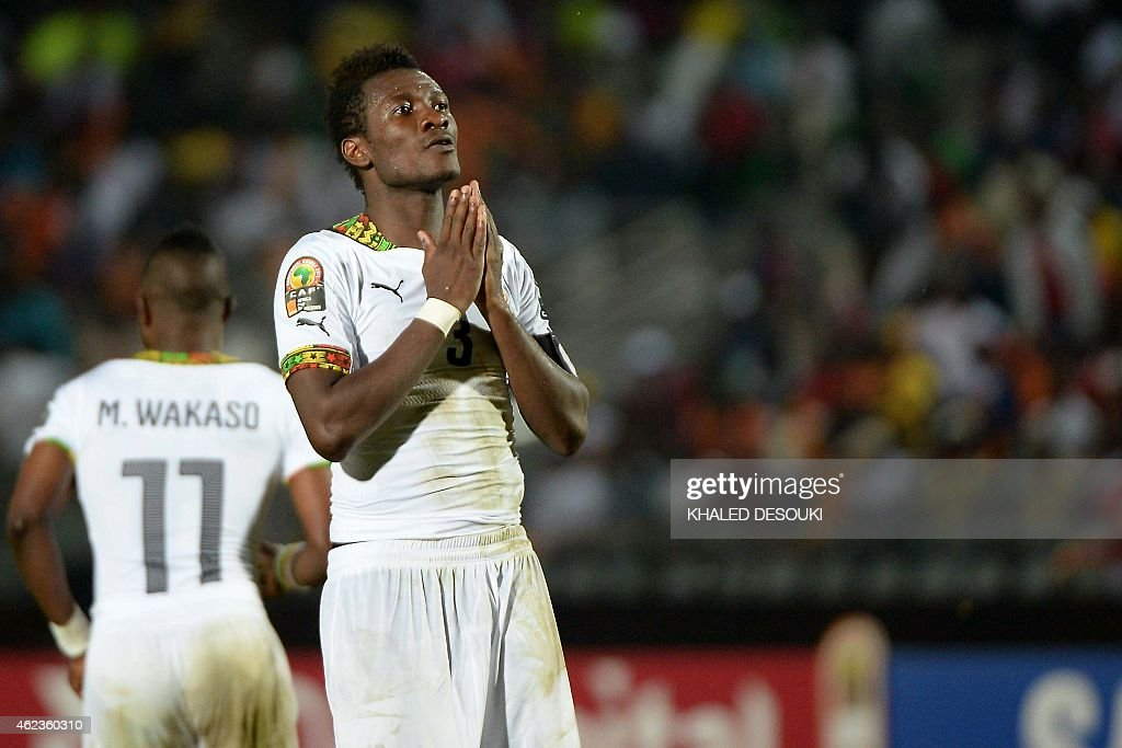 Ghana's forward <a gi-track='captionPersonalityLinkClicked' href=/galleries/search?phrase=Asamoah+Gyan&family=editorial&specificpeople=535782 ng-click='$event.stopPropagation()'>Asamoah Gyan</a> reacts after missing a goal opportunity during the 2015 African Cup of Nations group C football match between South Africa and Ghana in Mongomo on January 27, 2015. AFP PHOTO / KHALED DESOUKI