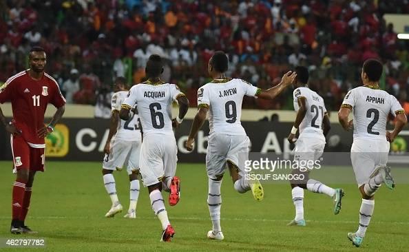 Ghana's forward Jordan Ayew celebrates after scoring a goal during the 2015 African Cup of Nations semifinal football match between Equatorial Guinea...
