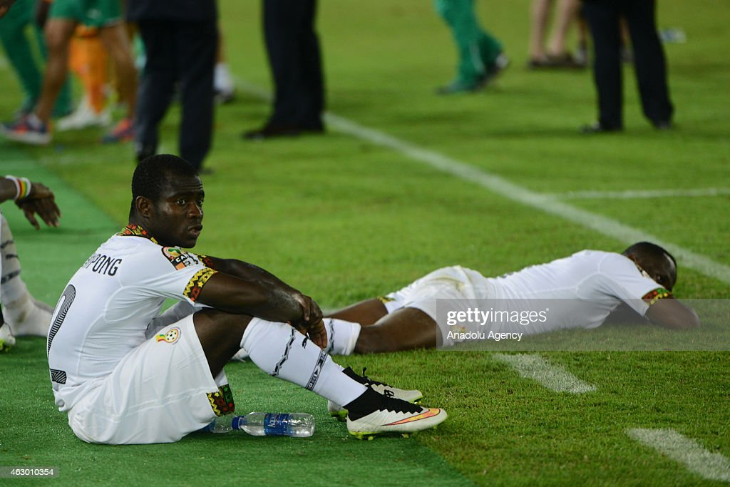 Ghana's Frank Acheampong reacts at the end of the 2015 African Cup of Nations final soccer match between Ivory Coast and Ghana at the Bata Stadium on...