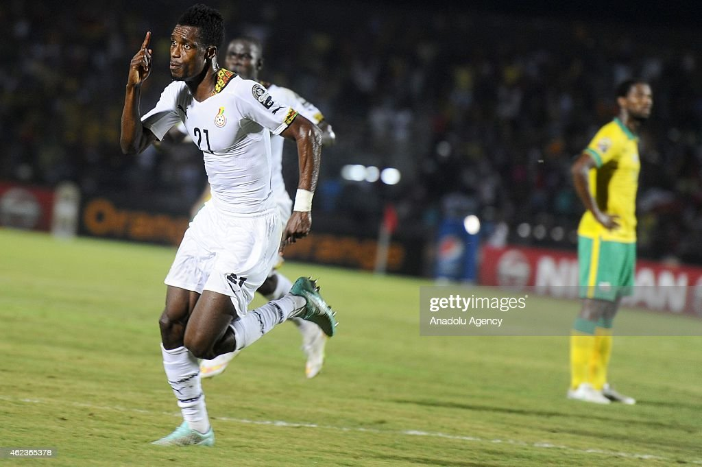 Ghana's John Boye (C) celebrates a goal during the 2015 African Cup of Nations Group C soccer match between South Africa and Ghana at Mongomo Stadium in Mongomo on January 27, 2015.