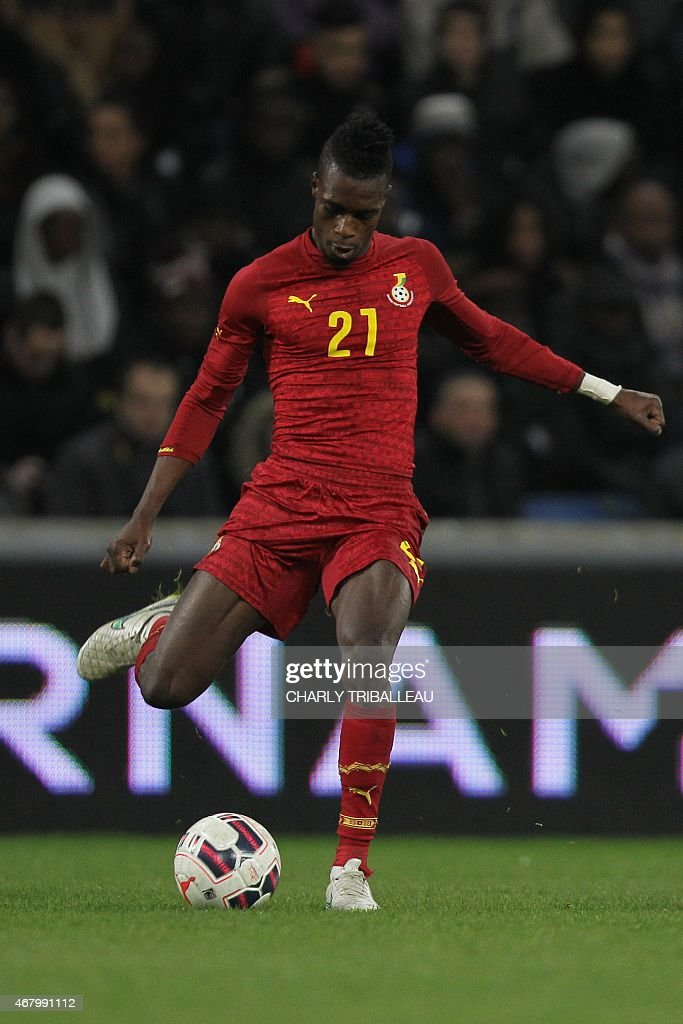 Ghana's <a gi-track='captionPersonalityLinkClicked' href=/galleries/search?phrase=John+Boye&family=editorial&specificpeople=7190220 ng-click='$event.stopPropagation()'>John Boye</a> passes the ball during the International Friendly football match between Senegal and Ghana on March 28, 2015 at the Oceane stadium, in Le Havre, northwestern France.