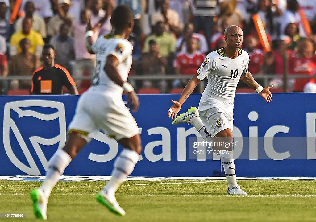 Ghana's midfielder Andre Ayew celebrates after scoring a goal during the 2015 African Cup of Nations group C football match between Ghana and Senegal...