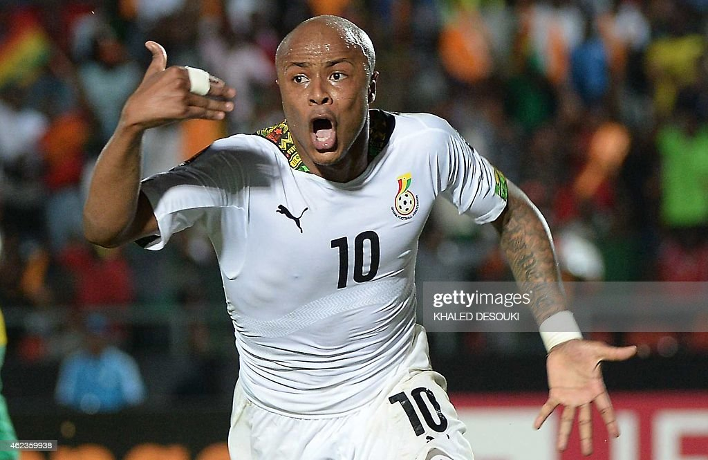 Ghana's midfielder Andre Ayew celebrates after scoring his team's winning goal during the 2015 African Cup of Nations group C football match between South Africa and Ghana in Mongomo on January 27, 2015. AFP PHOTO / KHALED DESOUKI