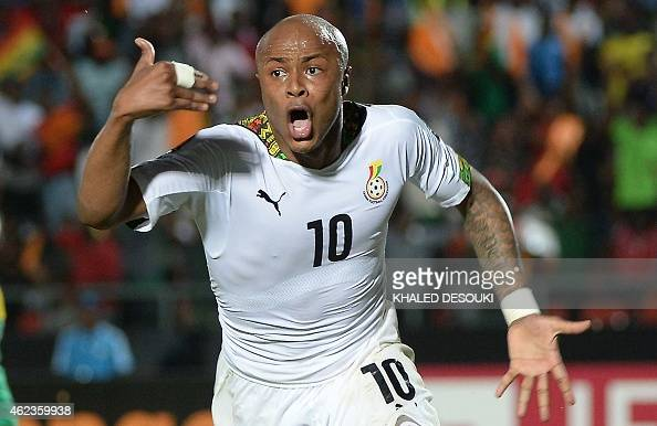 Ghana's midfielder Andre Ayew celebrates after scoring his team's winning goal during the 2015 African Cup of Nations group C football match between...