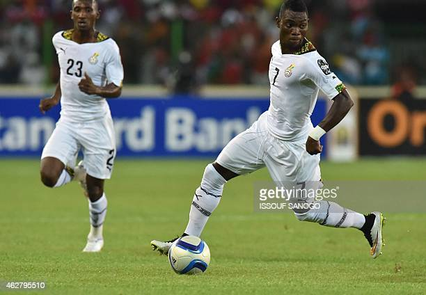 Ghana's midfielder Christian Atsu controls the ball during the 2015 African Cup of Nations semifinal football match between Equatorial Guinea and...