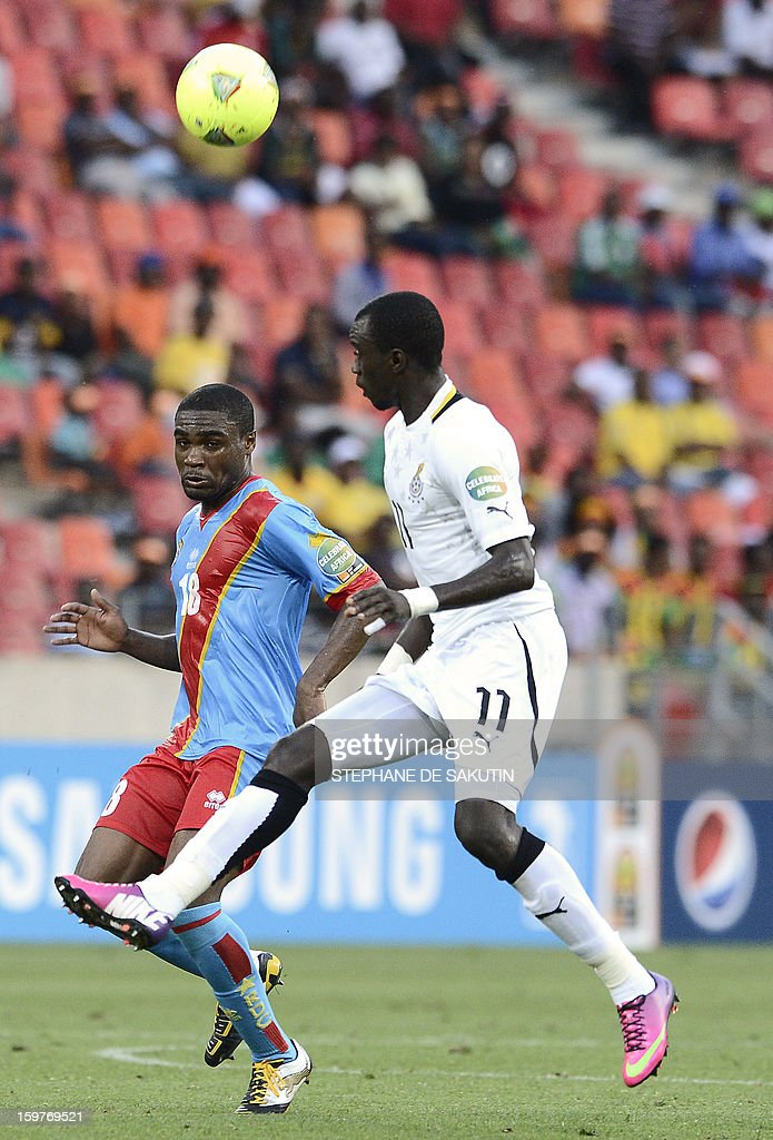 Ghana's midfielder Mohammed Rabiu (R) vies for the ball with Democratic Republic of Congo's midfielder Cedric Makiadi (R) during their 2013 African Cup of Nations football match at the Nelson Mandela Bay Stadium in Port Elizabeth on January 20, 2013.