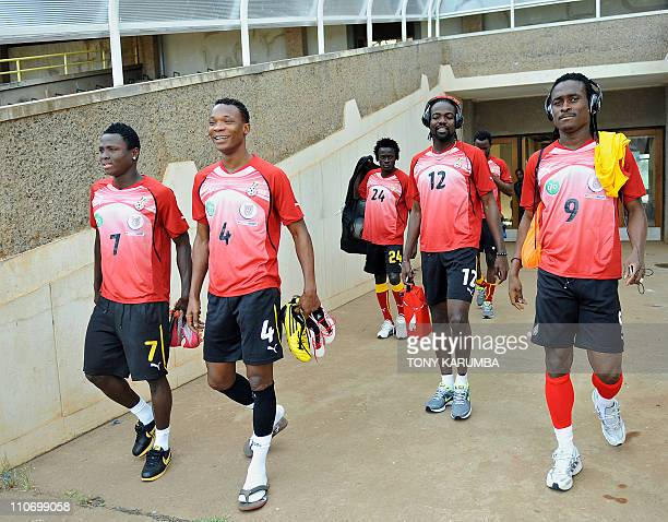 Ghana's national football team players Samuel Inkoom John Paintsil Nathaniel Amoah Prince Tagoe and Derek Boateng arrive for a training session on...