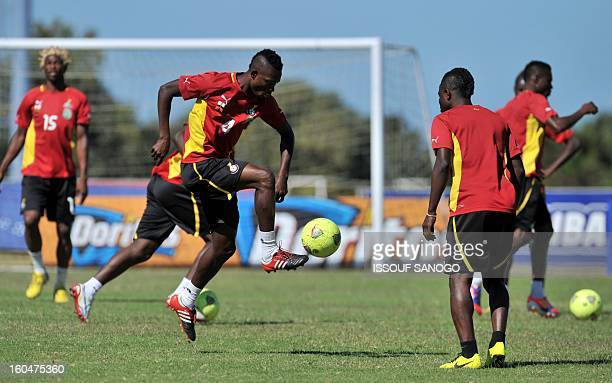 Ghana's national football team players take part in a training session on February 1 2013 in Port Elizabeth on the eve of the 2013 African Cup of...