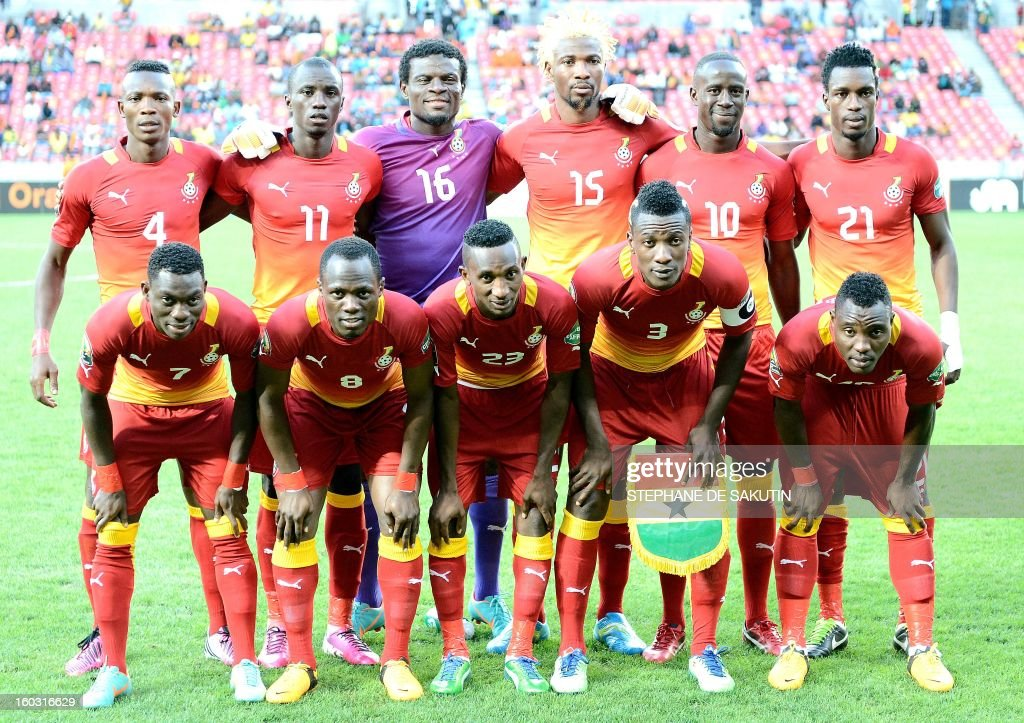Ghana's national football team poses on January 28, 2013 before a 2013 African Cup of Nation Group B football match against Niger at Nelson Mandela Bay Stadium in Port Elizabeth. Front row, from left : midfielder Christian Atsu, midfielder Emmanuel Agyemang Badu, defender Harrison Afful, forward Asamoah Gyan, midfielder Kwadwo Asamoah. Back row, from left : defender John Pantsil, midfielder Mohammed Rabiu, goalkeeper Fatau Dauda, defender Isaac Vorsah, midfielder Albert Adomah, defender John Boye. AFP PHOTO / STEPHANE DE SAKUTIN