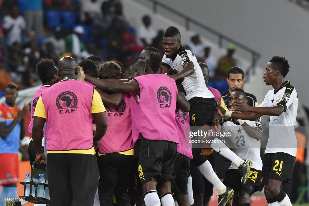 Ghana's players celebrate their second goal during the 2017 Africa Cup of Nations quarter-final football match between DR Congo and Ghana in Oyem on January 29, 2017. /