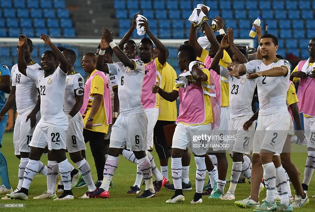 Ghana's players celebrate their victory at the end of the 2015 African Cup of Nations semifinal football match between Equatorial Guinea and Ghana in...