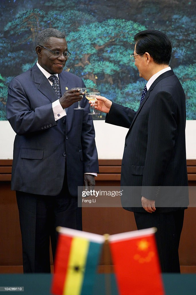 Ghana's President <a gi-track='captionPersonalityLinkClicked' href=/galleries/search?phrase=John+Atta+Mills&family=editorial&specificpeople=2650122 ng-click='$event.stopPropagation()'>John Atta Mills</a> (L) toasts with Chinese President <a gi-track='captionPersonalityLinkClicked' href=/galleries/search?phrase=Hu+Jintao&family=editorial&specificpeople=203109 ng-click='$event.stopPropagation()'>Hu Jintao</a> (R) during a signing ceremony in the Great Hall of the People on September 20, 2010 in Beijing, China. Ghana's President <a gi-track='captionPersonalityLinkClicked' href=/galleries/search?phrase=John+Atta+Mills&family=editorial&specificpeople=2650122 ng-click='$event.stopPropagation()'>John Atta Mills</a> is on a a six-day state visit to China.