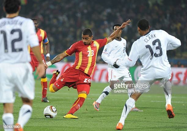 Ghana's striker KevinPrince Boateng shoots the ball during the 2010 World Cup round of 16 football match USA vs Ghana on June 26 2010 at Royal...