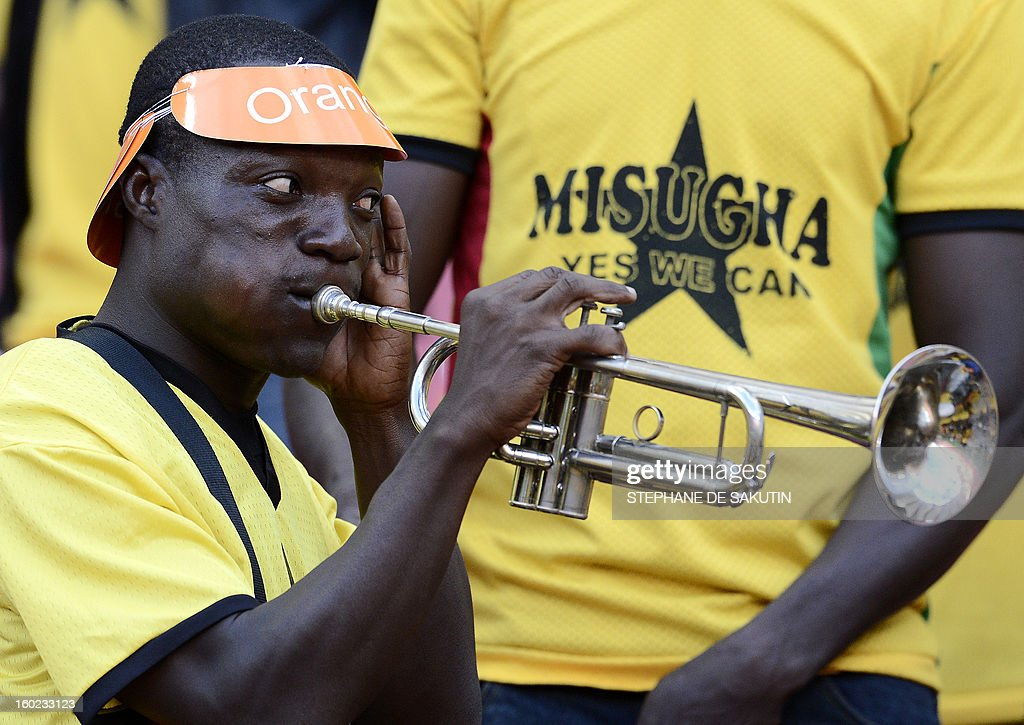 A Ghana's supporter plays trumpet prior a 2013 Africa Cup of Nations football match against Niger at Nelson Mandela Bay Stadium in Port Elizabeth on January 28, 2013.