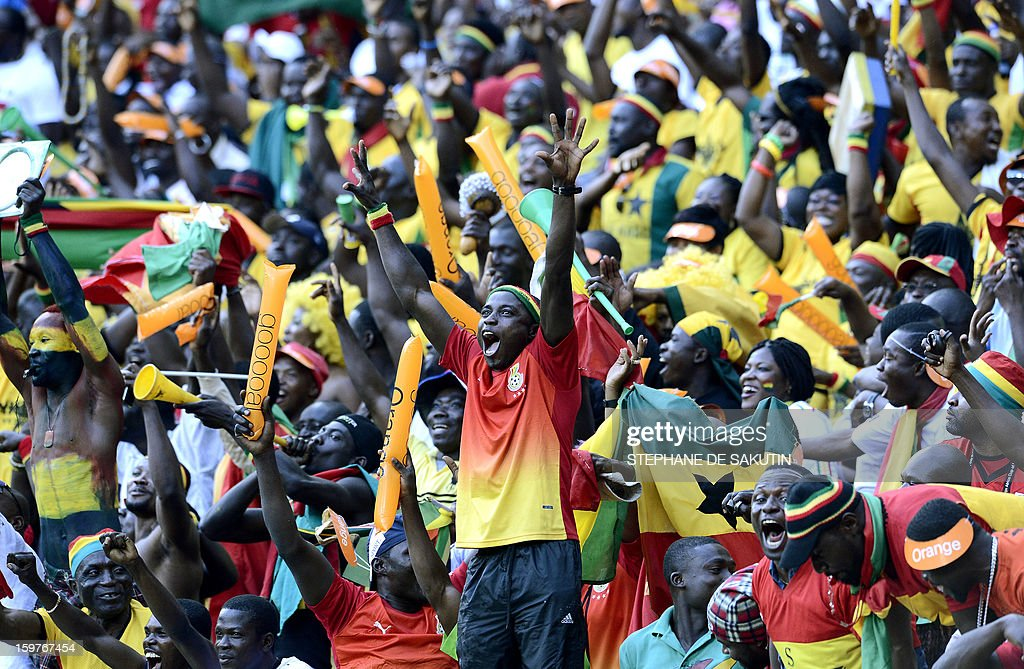Ghana's supporters celebrate the goal scored by midfielder Emmanuel Agyemang Badu against Democratic Republic of Congo during their 2013 Africa Cup of Nations football match at Nelson Mandela Bay Stadium in Port Elizabeth on January 20, 2013.
