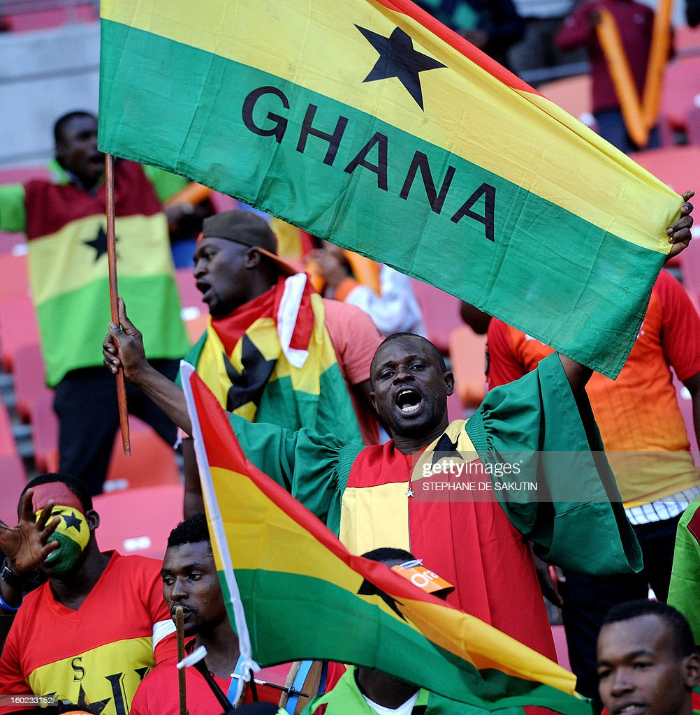 Ghana's supporters wave their country's flag prior a 2013 Africa Cup of Nations football match against Niger at Nelson Mandela Bay Stadium in Port Elizabeth on January 28, 2013.