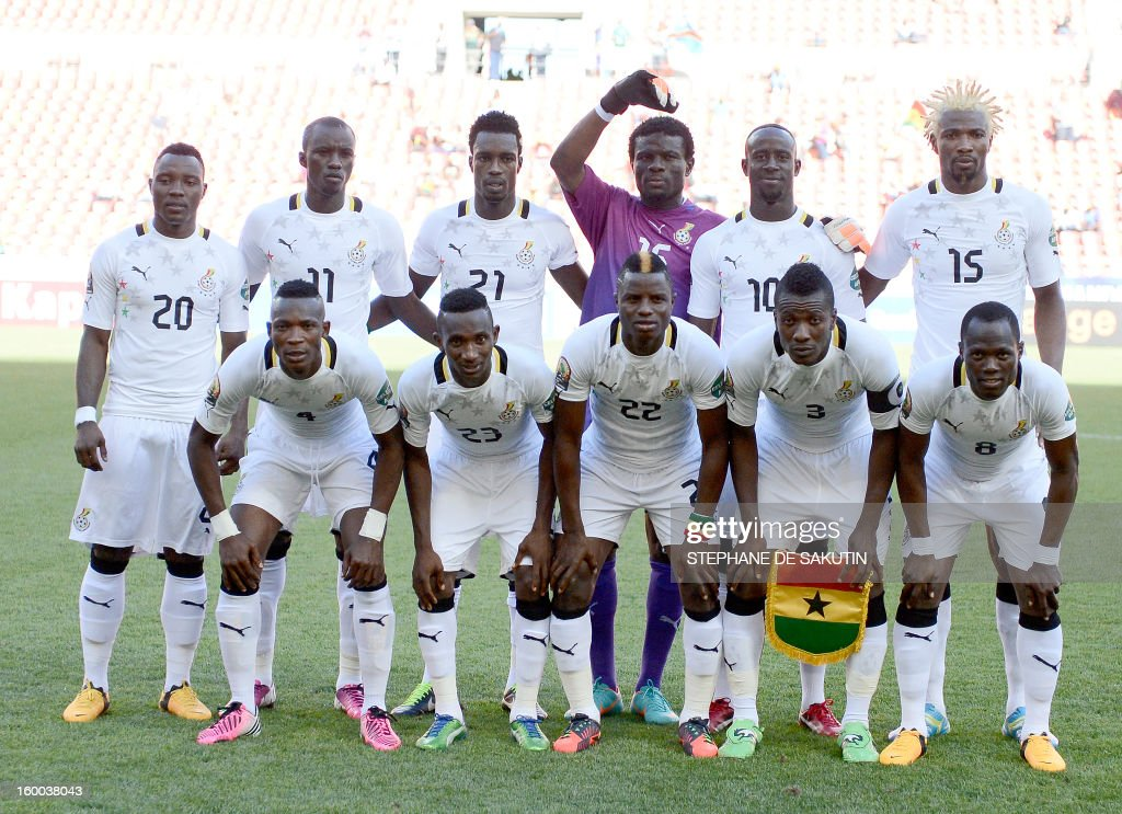 Ghana's team players pose on January 24, 2013 before a 2013 African Cup of Nation Group B football match against Mali at Nelson Mandela Bay Stadium in Port Elizabeth. Front row, from left : defender John Pantsil, defender Harrison Afful, midfielder Mubarak Wakaso, forward Asamoah Gyan, midfielder Emmanuel Agyemang Badu. Back row, from left : midfielder Kwadwo Asamoah, midfielder Mohammed Rabiu, defender John Boye, goalkeeper Fatau Dauda, midfielder Albert Adomah, defender Isaac Vorsah.