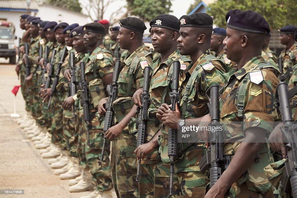Ghanean combat engineers take part in a ceremony ahead of their departure to Mali as part of the deployment of African-led International Support Mission to Mali (AFISMA) on February 11 in Accra.