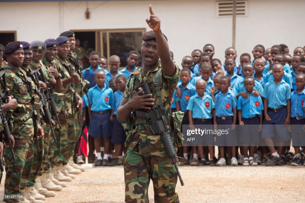 A Ghanean soldier gestures during a ceremony ahead of the departure of Ghana Engineering Company soldiers to Mali as part of the deployment of African-led International Support Mission to Mali (AFISMA) on February 11 in Accra. AFP PHOTO CHRIS STEIN
