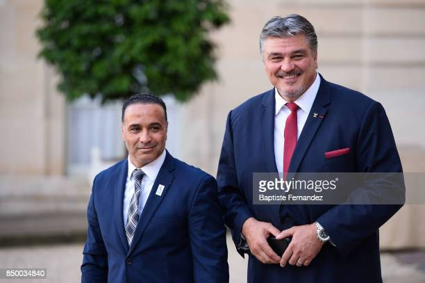 Ghani Yalouz and David Douillet during the reception of the CIO by the French President at Elysee Palais on September 15 2017 in Paris France